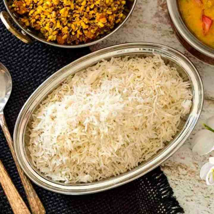 Overhead image of rice in a silver bowl
