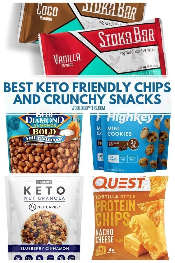 Collage of five different types of keto friendly chips and crunchy keto snacks
