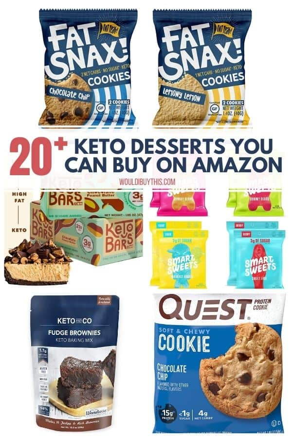 COLLAGE OF 5 KETO DESSERTS YOU CAN BUY ON AMAZON