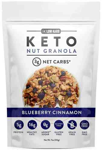 low karb keto blueberry nut granola healthy breakfast cereal