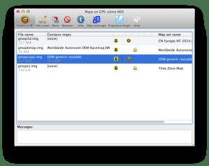 Overzicht van de kaarten op mijn Zumo 660 via Javawa Device Manager
