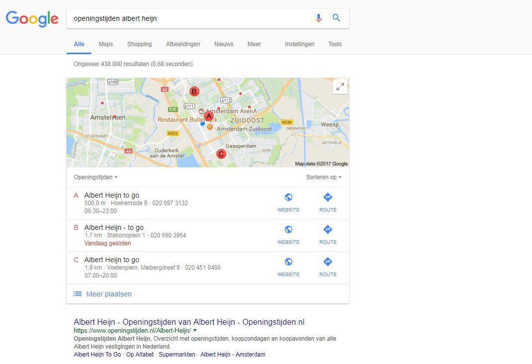 ah openingstijden local search