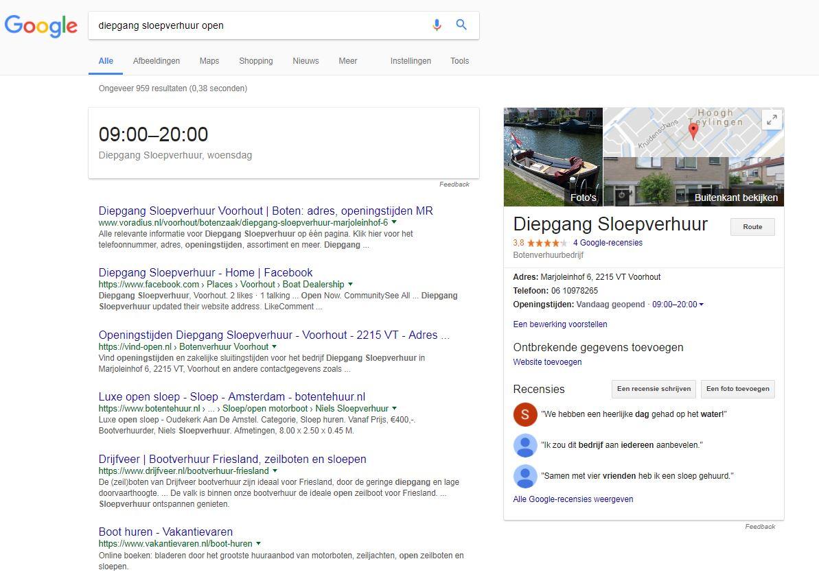 Google Openingstijden gewijzigd