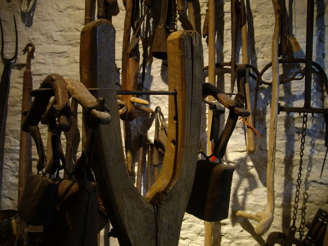 Yokes belonging to Richard Martin at Filkin's Mill in the Cotswolds