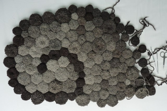 bathmat worked in handspun and crocheted wool