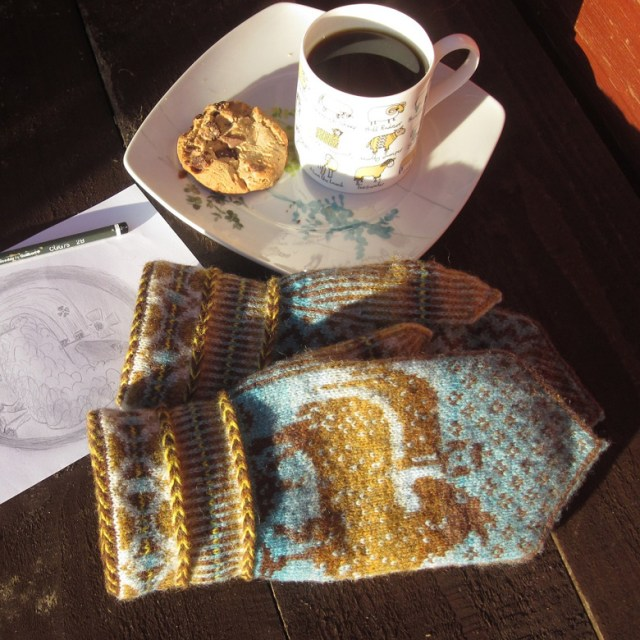 mittens worked in Jamieson's of Shetland wool