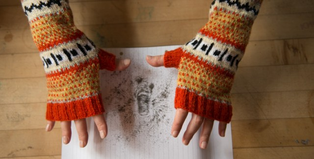 "100% WOOL wristwarmers, inspired by ""The Wonders of Electricity"" and perfect for experiments with iron filings + magnets"