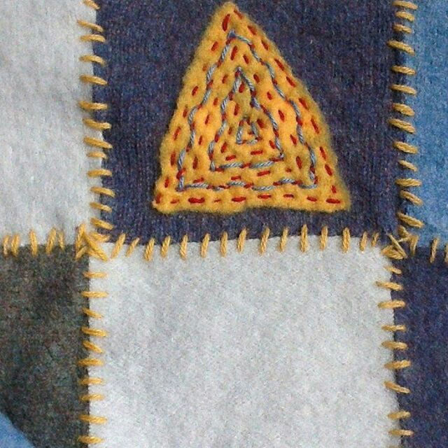 #babyblanket #wool100% #recycled #feltedshetlandwoolsweater with #needlefelted #merino and #scrapwool #embroidery #wovemberwal #wovember #wovember2015