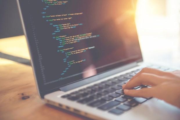 Macbook with app development coding