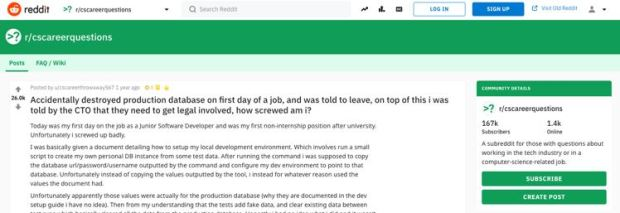 Image from the Reddit forums explaining how a graduate developer was fired for making an error on their first day, used as an example at the Infinity Works Leeds event