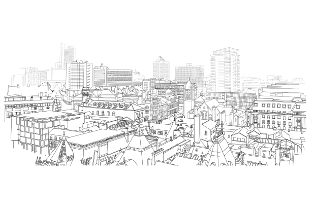 Illustration of Leeds done by Woven illustrator and junior designer, Chloe Greenwood