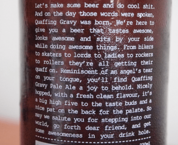 The packaging label for Quaffing Gravy pale ale