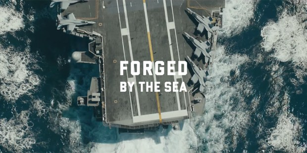 US Navy digital first campaign poster for 'Forged by the sea'