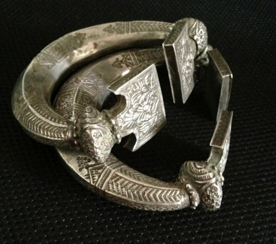 ANTIQUE SILVER TRIBAL PAYAL, INDIA