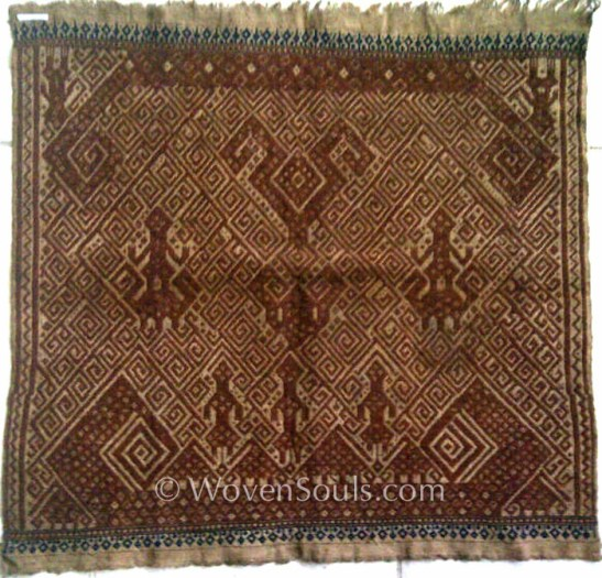 ANTIQUE SUMATRA TEXTILE CEREMONIAL SHIP CLOTH TAMPAN