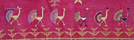 ATI-654 ANTIQUE BARMER RAJASTHAN SHAWL WITH PEACOCK