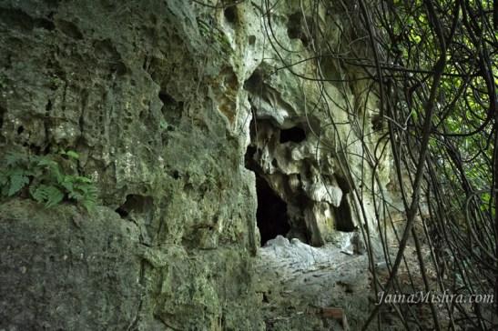 Cave Rock formations, stalactites stalagmites at Halong Bay Vietnam