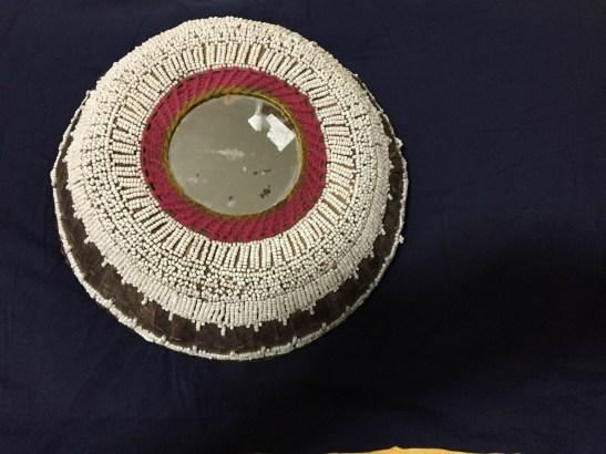 Old Beaded Basket Offering Bowl Palm Leaf