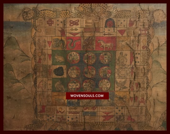 Antique Tibetan Astrological Manuscript Calendar Painting Thangka