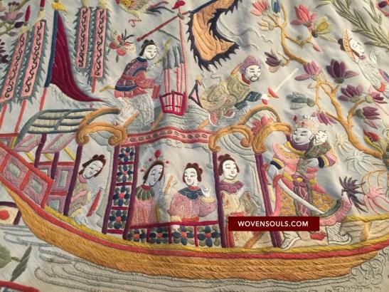 1254 w ANTIQUE DOUBLE SIDED EMBROIDERY - WHITE FIGURATIVE BABY SCENE - MANILA MANTON SILK SHAWL 08