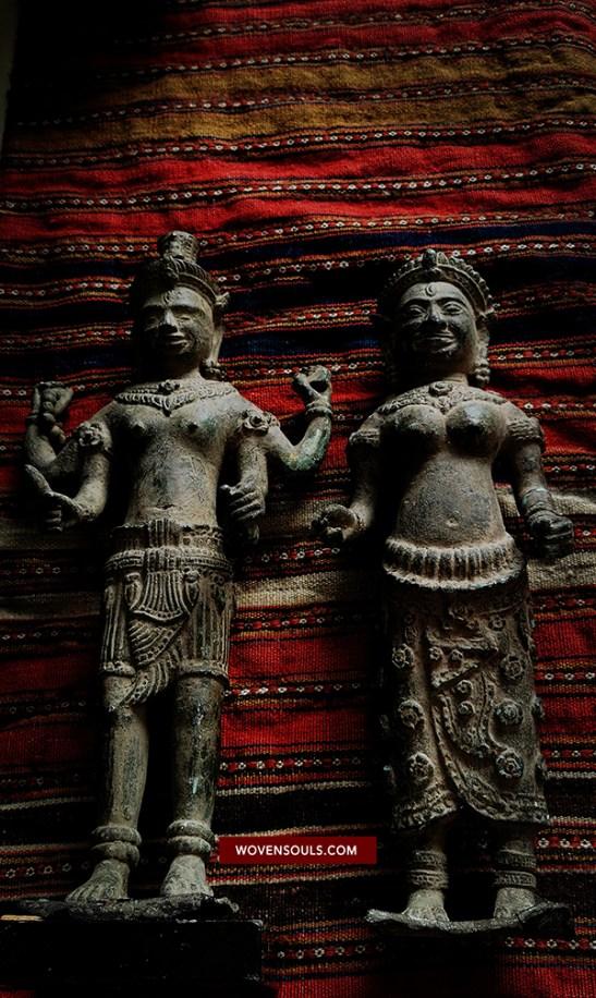 Khmer Bronze Statue Idol Vishnu Laxmi Pair