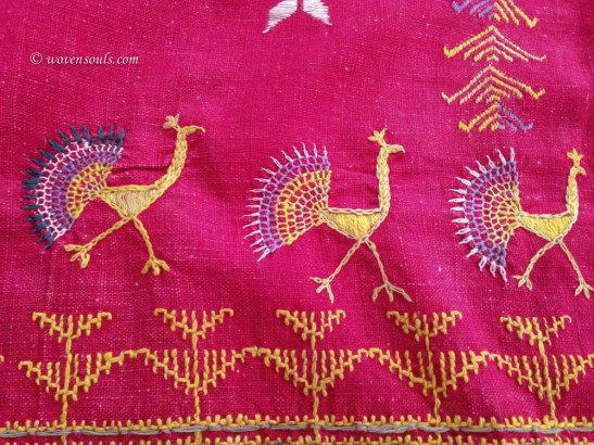 654 Peacock Bird SHawl Odhana Rajasthan