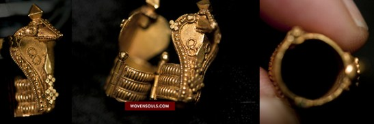537 RARE ANTIQUE INDIAN GOLD EARRINGS NAGAVADURA 09