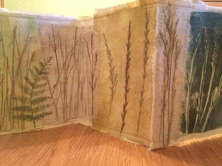Jen Skedd. Just completed my folding book inspired by Amanda Hislop's techniques. However I used monoprints made using wildflowers and grasses which I've machine and hand-embroidered.