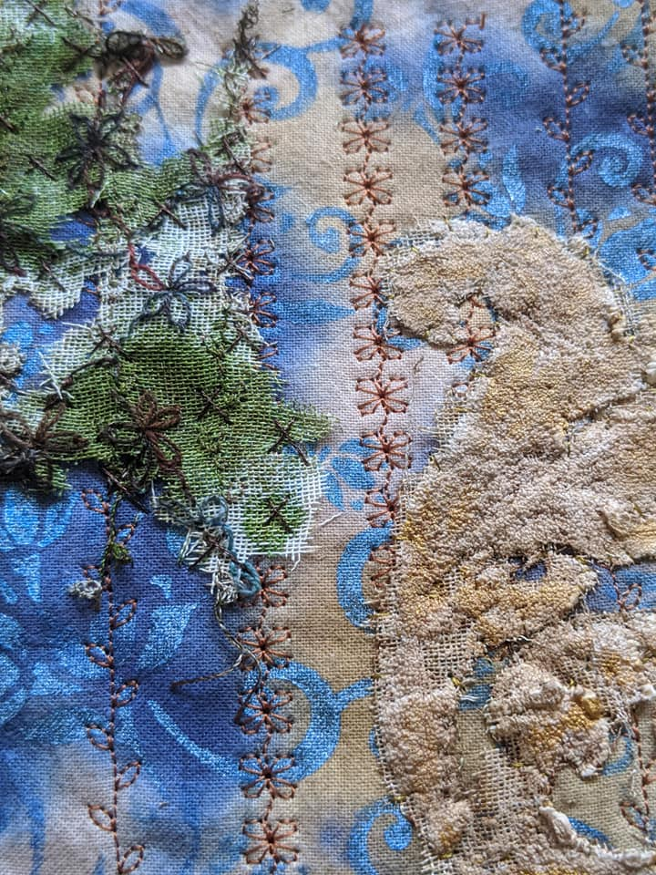 Jo Taylor. I have been going through old WOW workshops and Maggie's Raising the Surface book. I have been having fun with vanishing muslin and puff paint.
