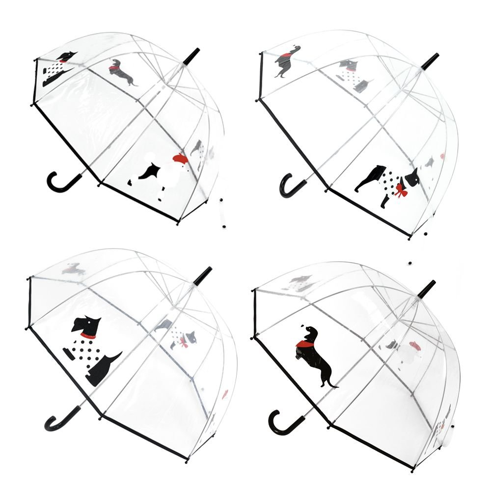 Drizzles Ladies Clear Dome Umbrella with Printed Dog