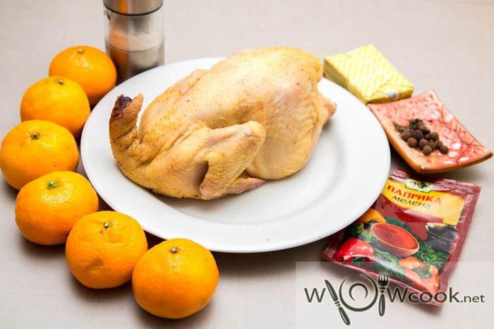 Frango cozido com tangerinas
