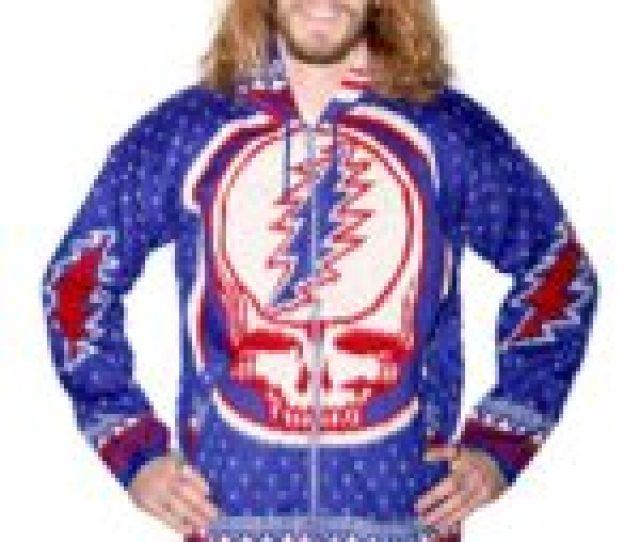 Grateful Dead Alpaca Style Zip Up Hooded Sweater
