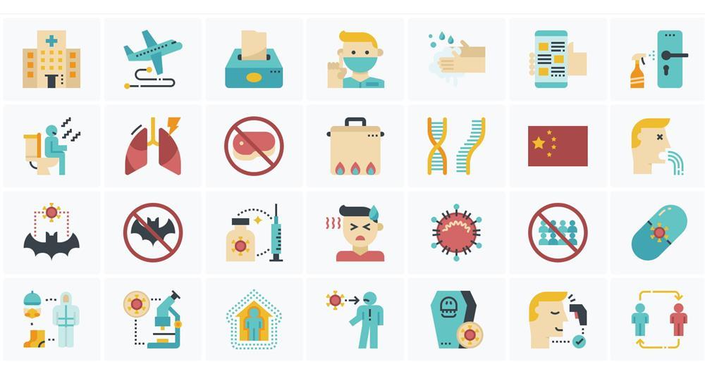 300款防疫專用設計icons!Iconfinder免費素材圖庫推新冠武漢肺炎防疫素材包