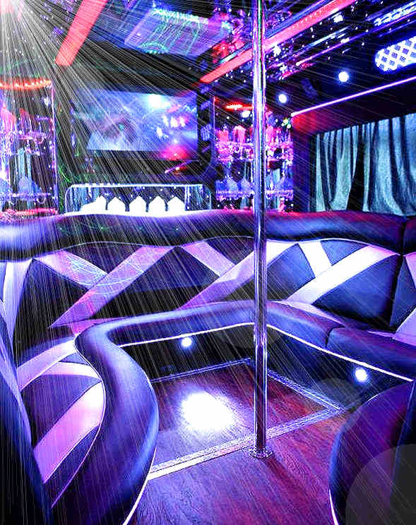 Blue Party Bus Limo Interior image