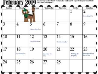February calendar with pet dates and other holidays