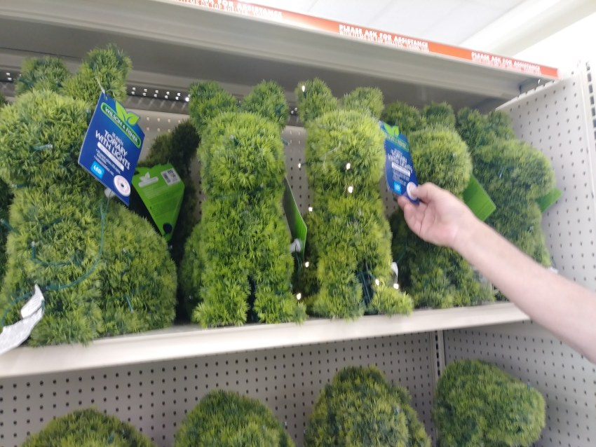 light up topiary rabbit