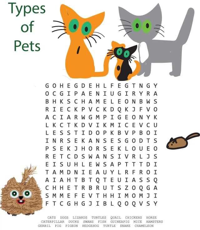 Types of pets word search puzzle