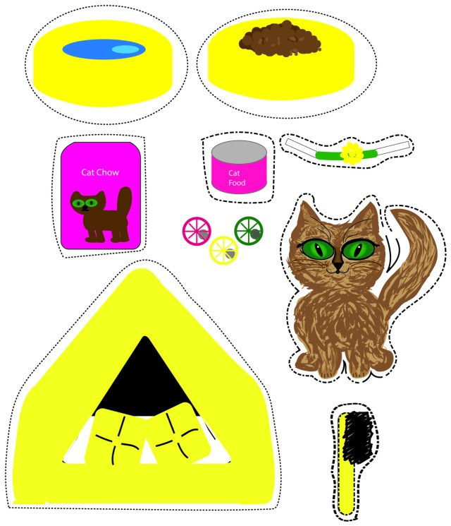 paper doll cat with accessories