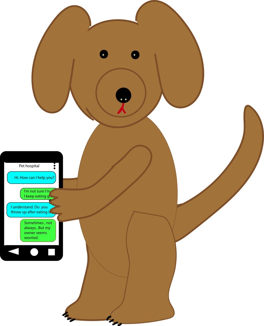 dog texting graphic