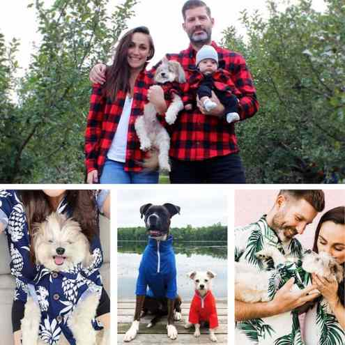 People and dogs with matching outfits