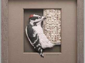 Paper Woodpecker sculpture