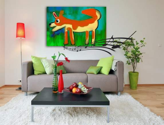 dog painting in living room