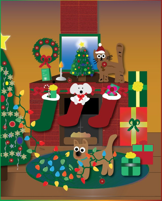 Christmas graphic with dogs and cats