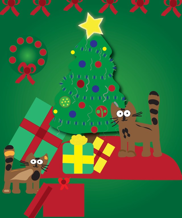 cats with presents graphic