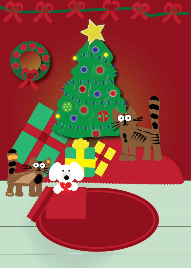 cats and dog under the tree digital art