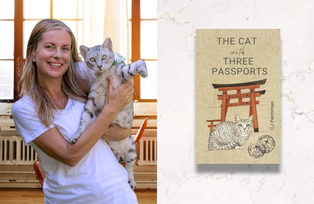The author and cat with book cover