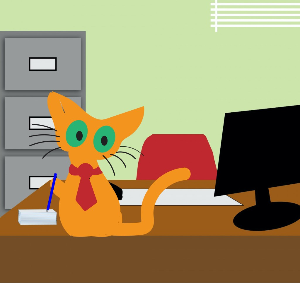cat in office graphic