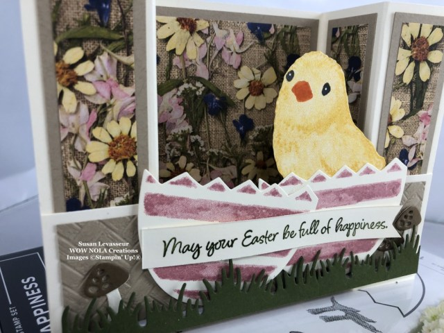 Full of Happiness, Bridge Fold Easter Card, Susan Levasseur, WOW NOLA Creations, Stampin' Up!