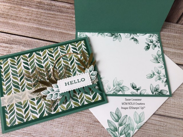 Forever Greenery Suite Card #2, Susan Levasseur, WOW NOLA Creations, Stampin' Up!