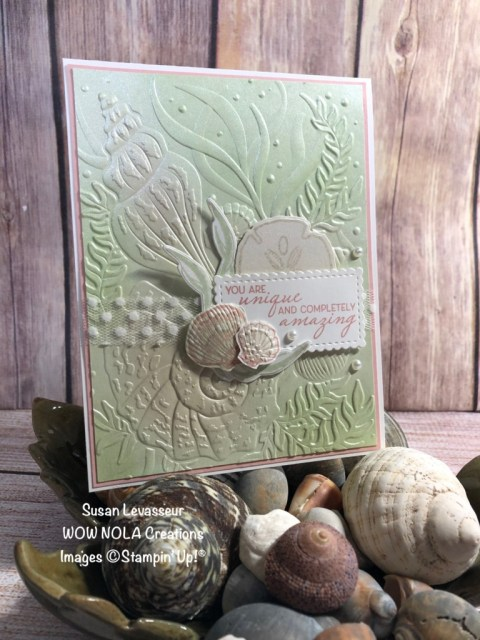 Pearlized Paper Technique, Seashells, Susan Levasseur, WOW NOLA Creations, Stampin' Up!